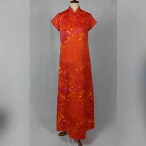 Tiare Hawaii Vtg Maxi Dress Mandarin Collar Floral
